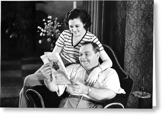 Roscoe Arbuckle & Addie Greeting Card by Underwood Archives