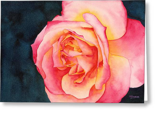 Greeting Card featuring the painting Rose Ablaze by Ken Powers