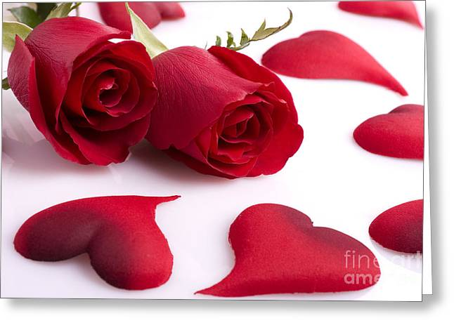 Rose And Heart Greeting Card by Boon Mee