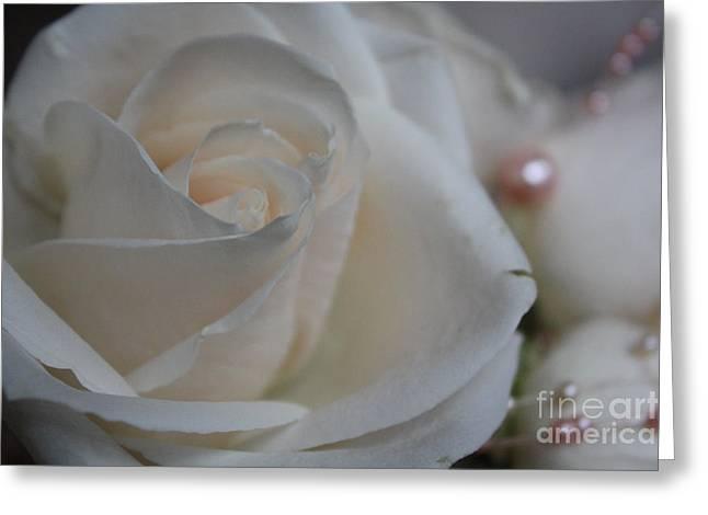 Rose And Pearls Greeting Card by Nancy TeWinkel Lauren
