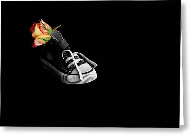 Greeting Card featuring the photograph Rose And Shoe by Marwan Khoury