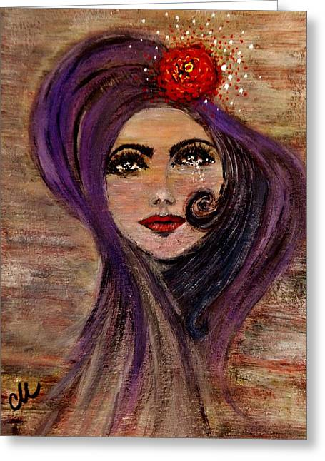 Greeting Card featuring the painting Rose And Tears... by Cristina Mihailescu