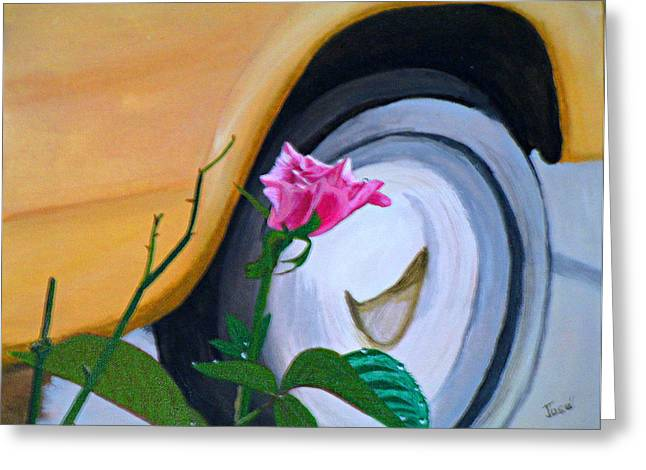 Greeting Card featuring the painting Rose At The Curb by Hilda and Jose Garrancho
