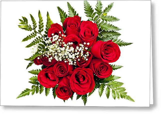 White Background Greeting Cards - Rose bouquet from above Greeting Card by Elena Elisseeva