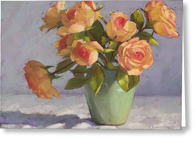 Floral Still Life Pastels Greeting Cards - Rose Bouquet Greeting Card by Sarah Blumenschein