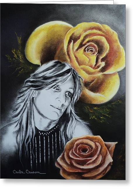Greeting Card featuring the drawing Rose by Carla Carson