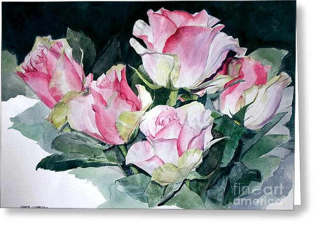 Watercolor Of A Pink Rose Bouquet Celebrating Ezio Pinza Greeting Card