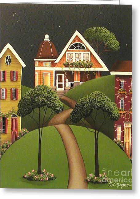 Rose Hill Lane Greeting Card by Catherine Holman