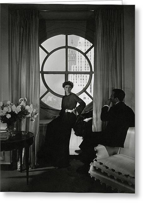Rose Hobart Standing By A Window Greeting Card by Edward Steichen
