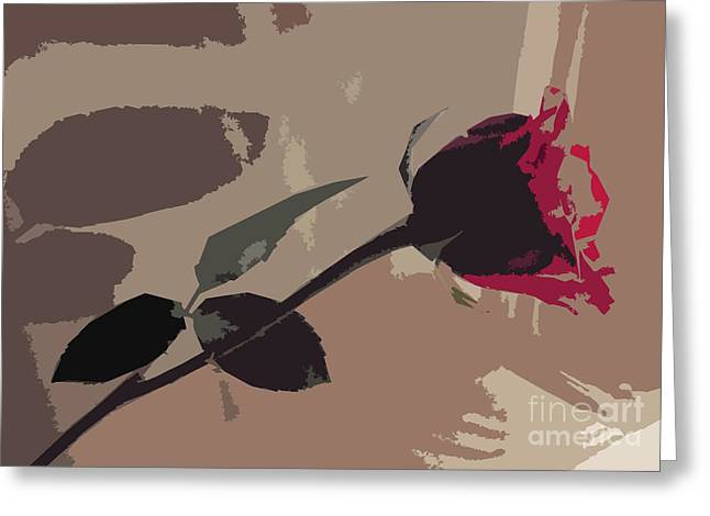 Rose In Abstract Digital Painting Greeting Card by Minding My  Visions by Adri and Ray
