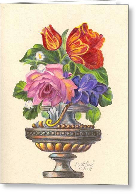 Rose In Antique Vase Greeting Card