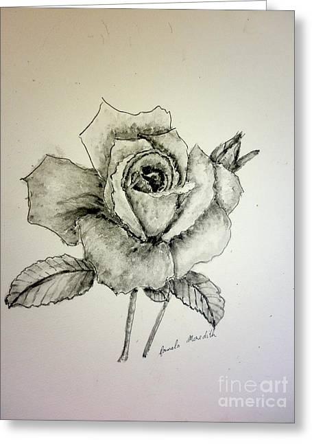 Rose In Monotone Greeting Card