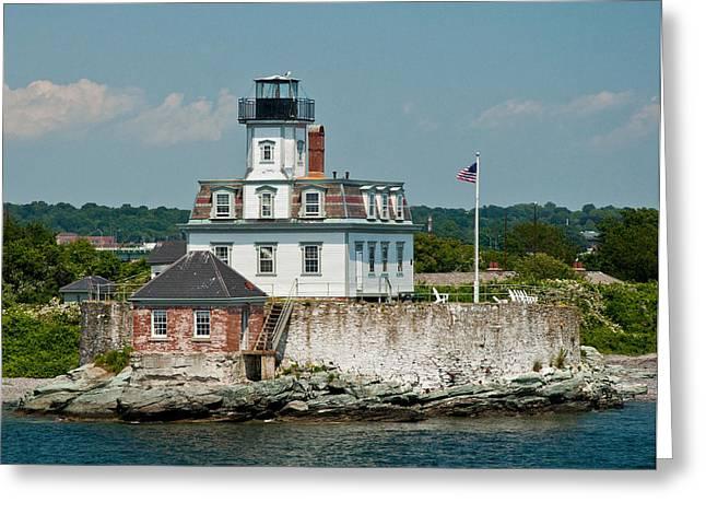 Rose Island Lighthouse Greeting Card by Nancy De Flon