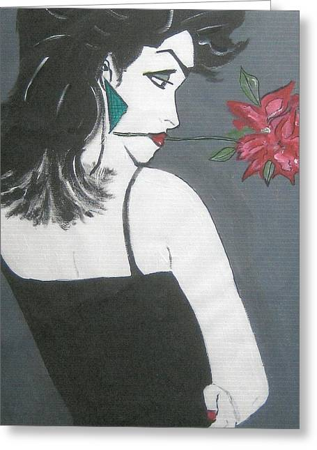 Greeting Card featuring the painting Rose Lady by Nora Shepley