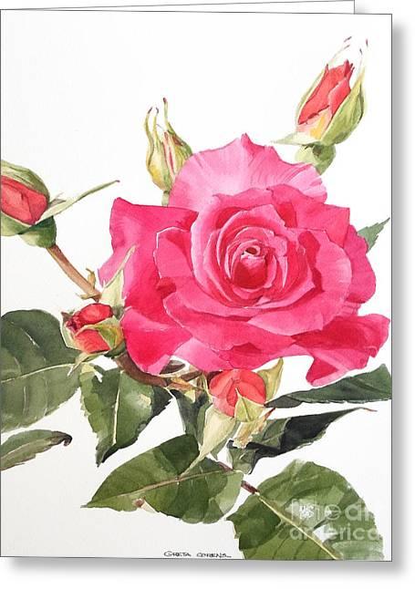 Watercolor Red Rose Margaret Greeting Card