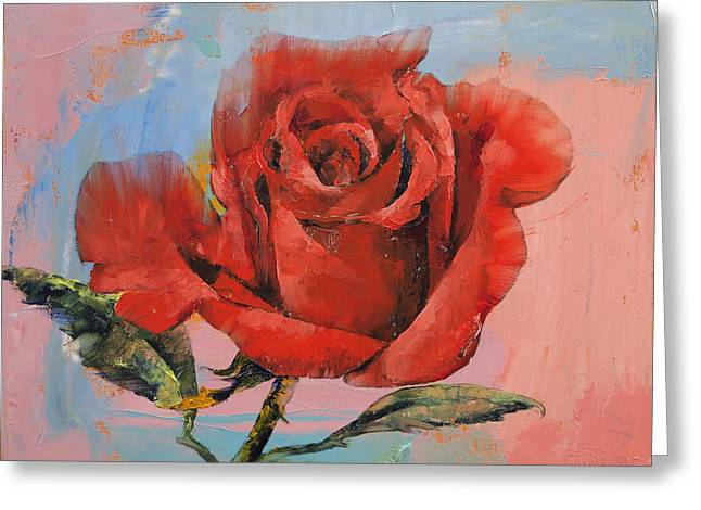 Rose Painting Greeting Card by Michael Creese