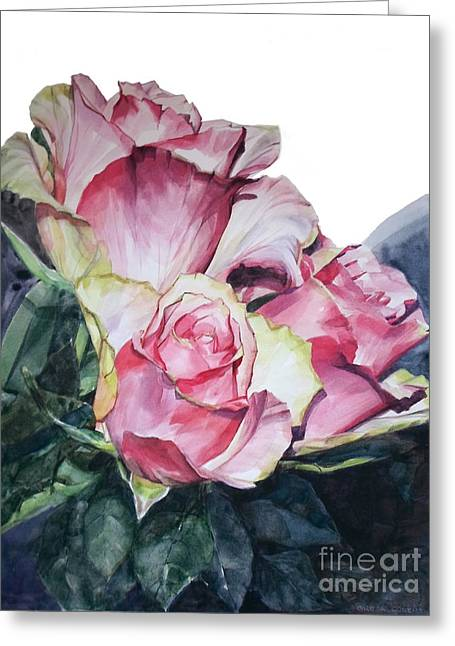 Watercolor Of A Bouquet Of Pink Roses I Call Rose Michelangelo Greeting Card