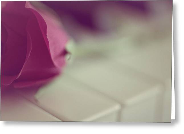 Rose On A Piano Greeting Card by The Art Of Marilyn Ridoutt-Greene