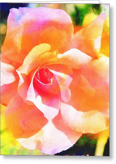 Rose On Canvas  Greeting Card by Cathie Tyler