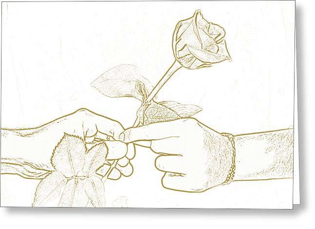 Rose Outline By Jan Marvin Studios Greeting Card