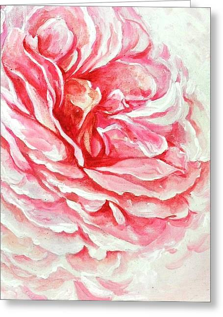 Greeting Card featuring the painting Rose Reflection 3 by Sandra Phryce-Jones