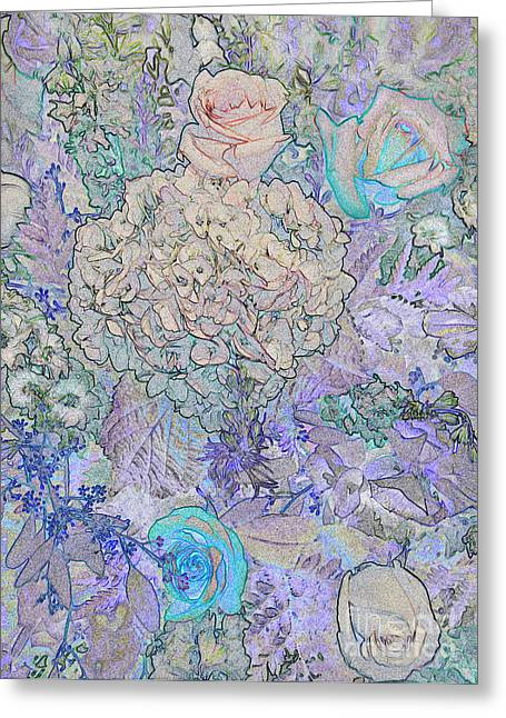 Greeting Card featuring the digital art Rose Tapestry  by Mae Wertz