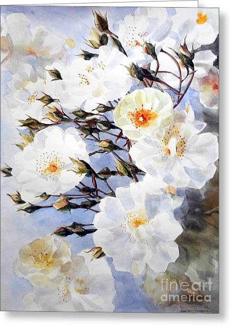 Wartercolor Of White Roses On A Branch I Call Rose Tchaikovsky Greeting Card