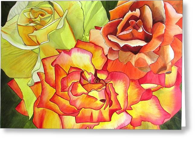 Rose Trio Greeting Card by Sacha Grossel