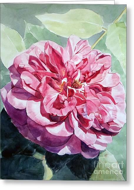 Watercolor Of A Pink Rose In Full Bloom Dedicated To Van Gogh Greeting Card
