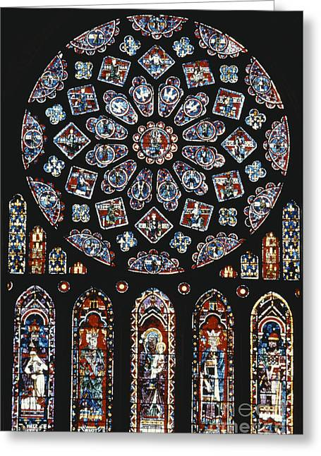 Rose Window At Chartres Cathedral Greeting Card by Explorer