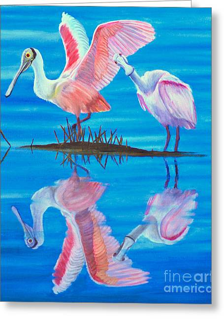 Roseate Spoonbill Pair Greeting Card by Jane Axman