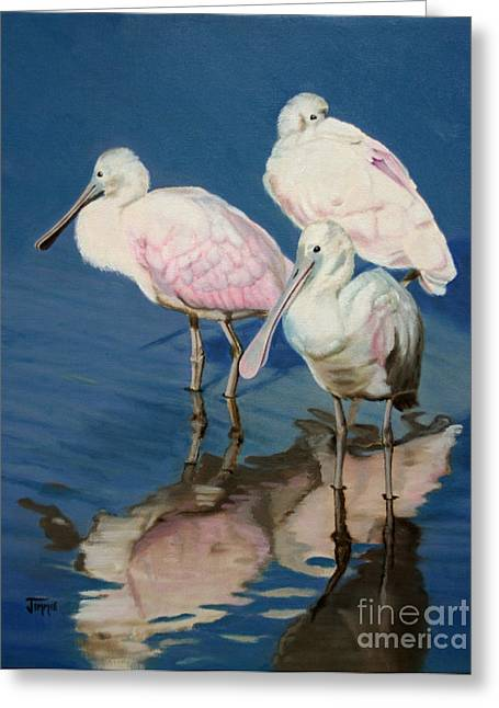Greeting Card featuring the painting Roseate Spoonbill Trio by Jimmie Bartlett