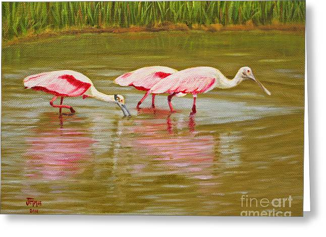 Greeting Card featuring the painting Roseatte Spoonbill Party by Jimmie Bartlett