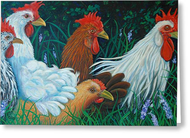 Rosebank Farm Chickens Greeting Card by Dwain Ray