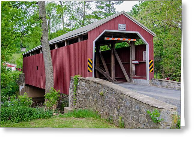 Rosehill Covered Bridge Greeting Card by Guy Whiteley