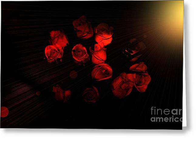 Roses And Black Greeting Card
