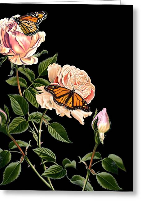 Roses And Butterflies Greeting Card