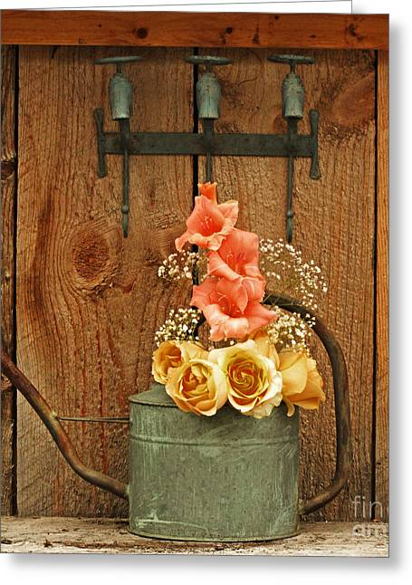 Greeting Card featuring the photograph Roses And Gladiolus  by Marjorie Imbeau