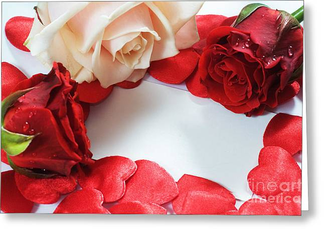 Roses And Hearts Greeting Card by Michal Bednarek