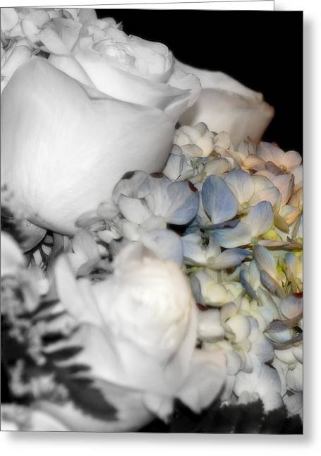 Roses And Hydrangeas Greeting Card by Laurie Pike