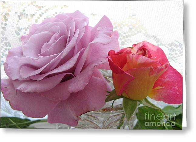 Roses And Lace Greeting Card by Marlene Rose Besso