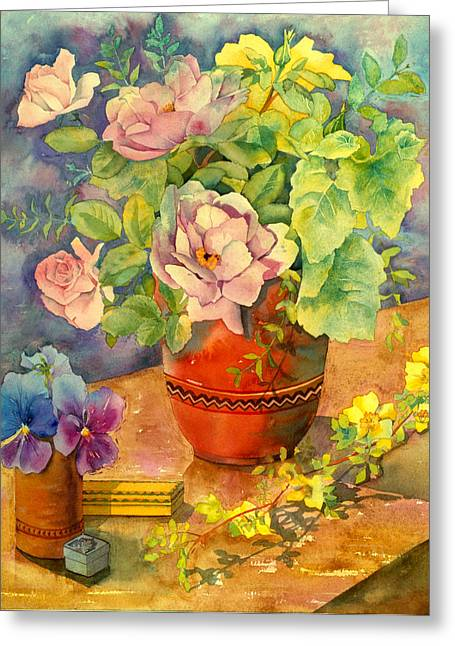 Roses And Pansies Greeting Card by Julia Rowntree