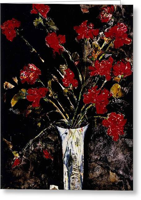 Greeting Card featuring the painting Roses And Remembrance by Elaine Elliott