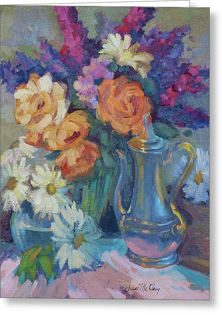 Roses And Silver Greeting Card by Diane McClary