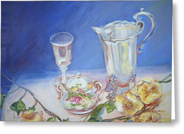 Roses And Tea Greeting Card by Patricia Kimsey Bollinger