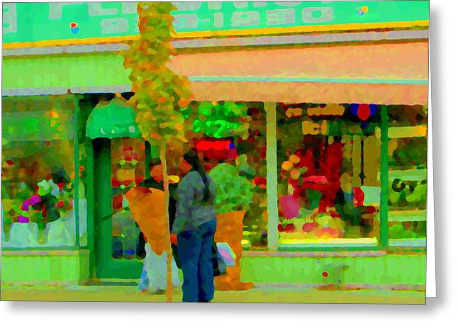 Roses At The Flower Shop Fleuriste Coin Vert Rue Notre Dame Springtime Scenes Carole Spandau Greeting Card by Carole Spandau