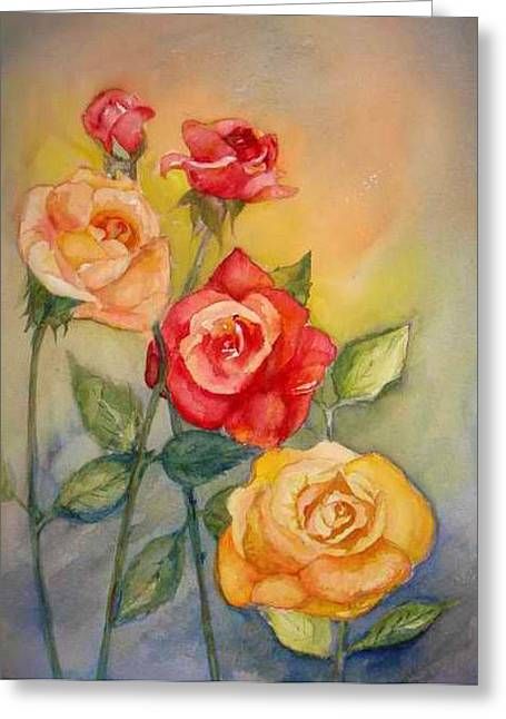 Roses Greeting Card by Bianca Romani