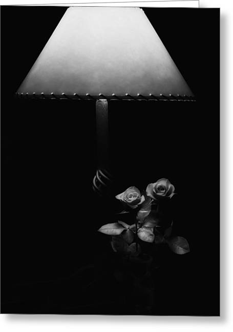 Greeting Card featuring the photograph Roses By Lamplight Bw by Ron White