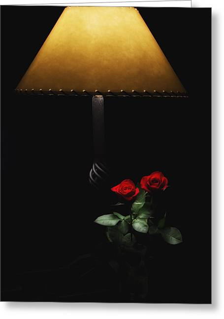 Roses By Lamplight Greeting Card