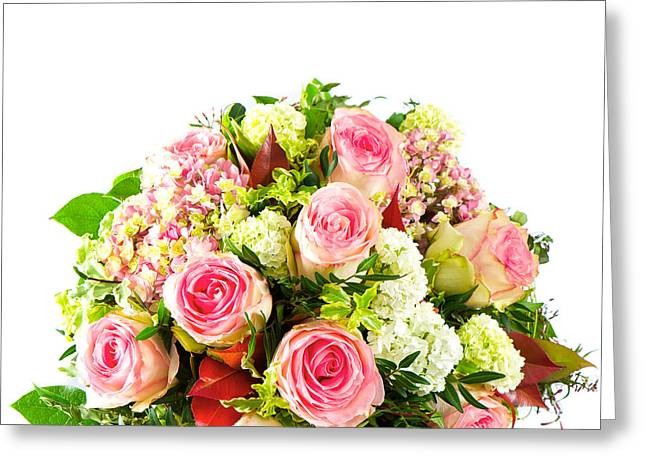 Roses Colorful Flower Bouquets Greeting Card by Boon Mee